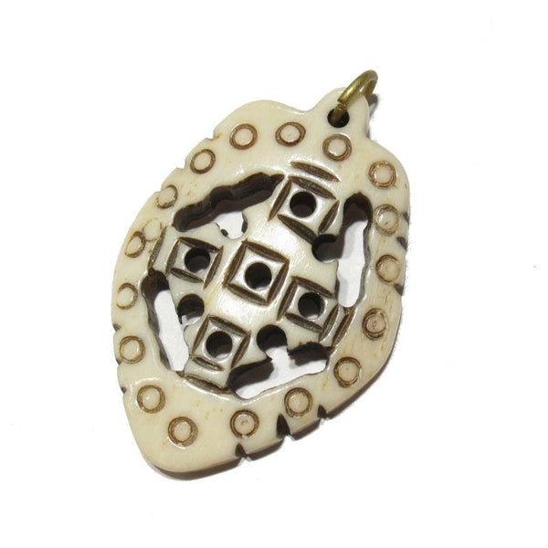 Ethiopian Coptic Style Cross Hand Carved Cow Bone Pendant 3