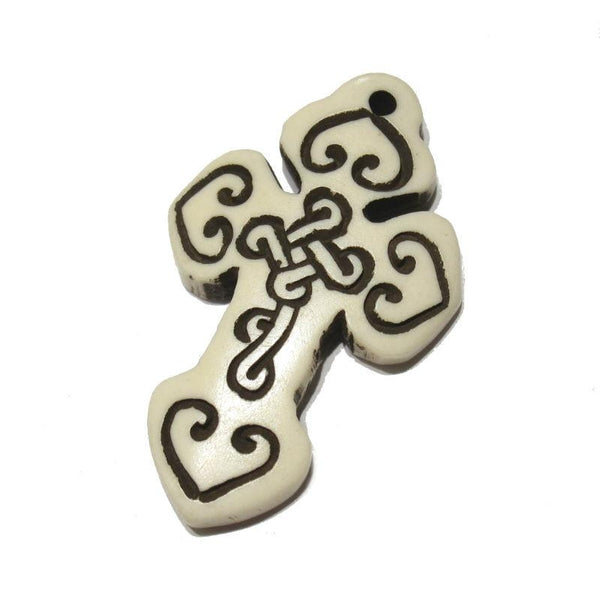Ethiopian Coptic Style Cross Hand Carved Cow Bone Pendant 4