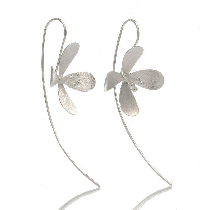 Sterling Silver Daisy Long Earrings