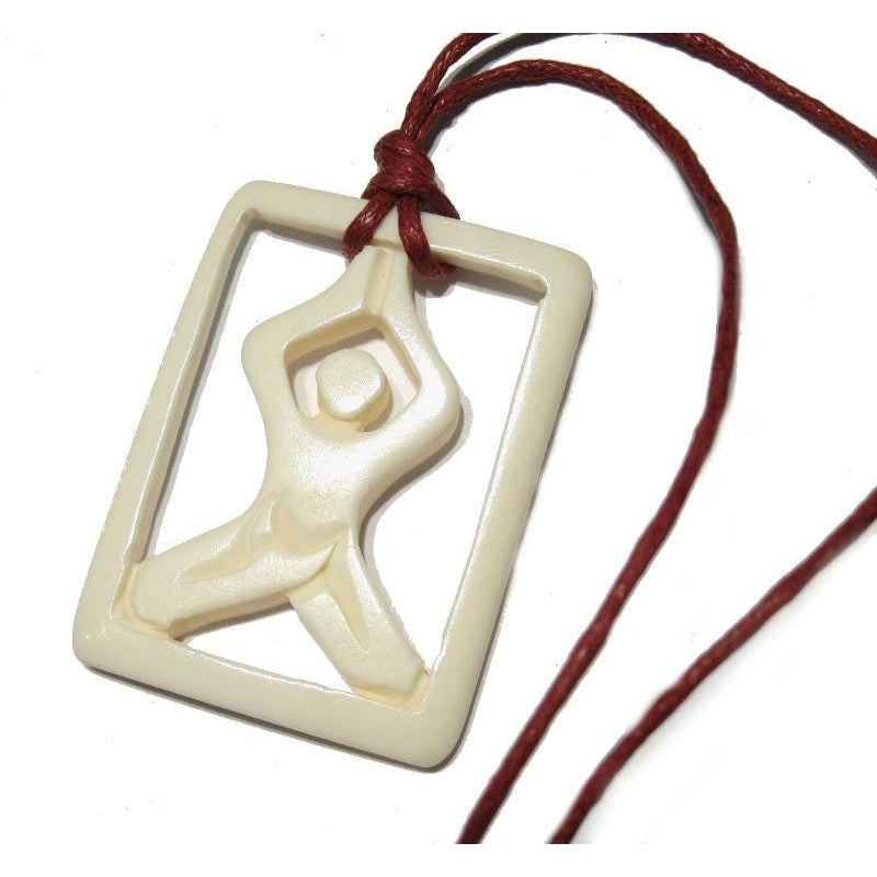 Yoga Hand Carved Cow Bone Pendant