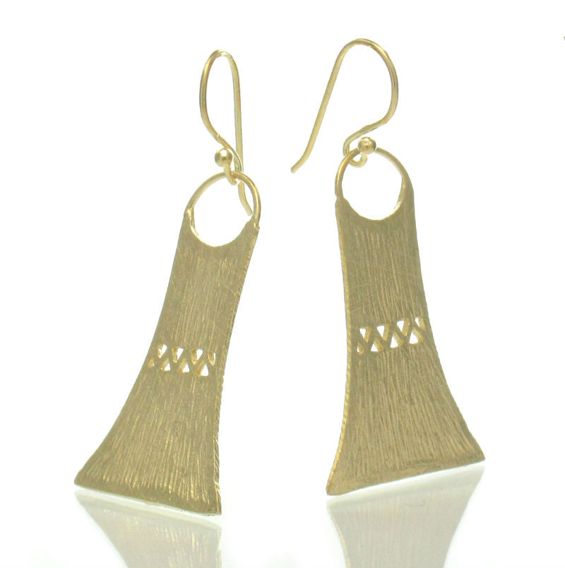 Gold Plated Over Sterling Silver Bamboo Hut Earrings