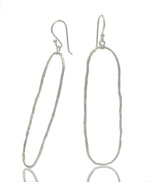 Sterling Silver Hand Hammered Oval Earrings