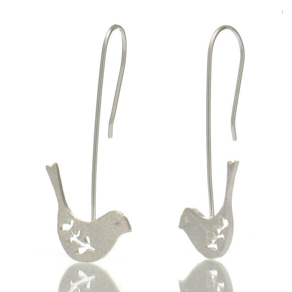 Sterling Silver Bird on a Wire Earrings