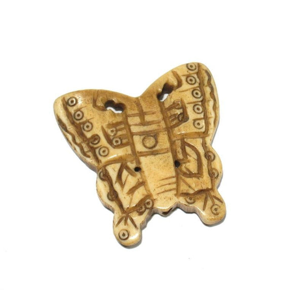 """Joyful"" Butterfly Hand Carved Cow Bone Pendant"