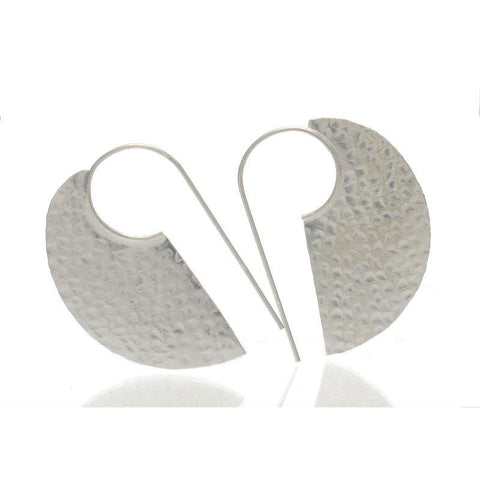 Sterling Silver Hand Hammered Edgy Earrings