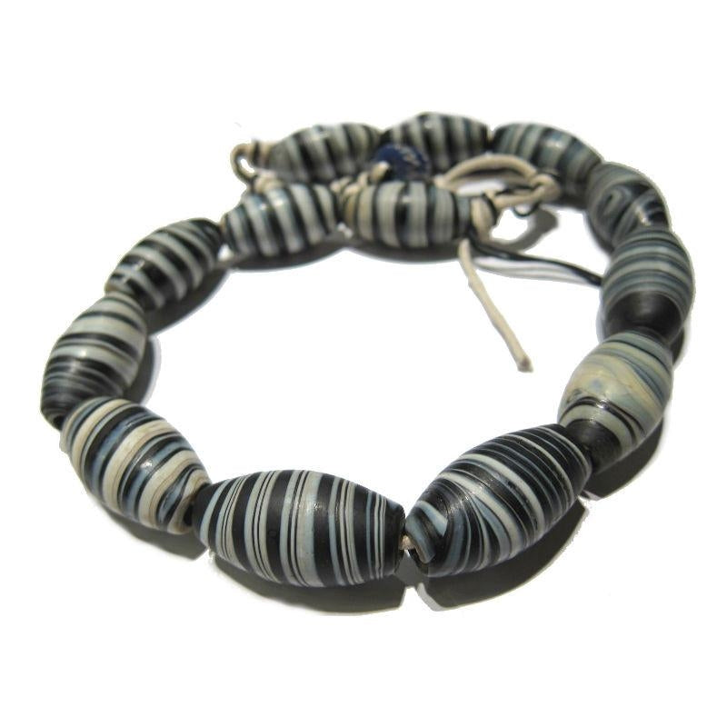 "Glass ""Dzi Style Banded Agate"" Black and White Glass Barrel Necklace/Strand or Loose"