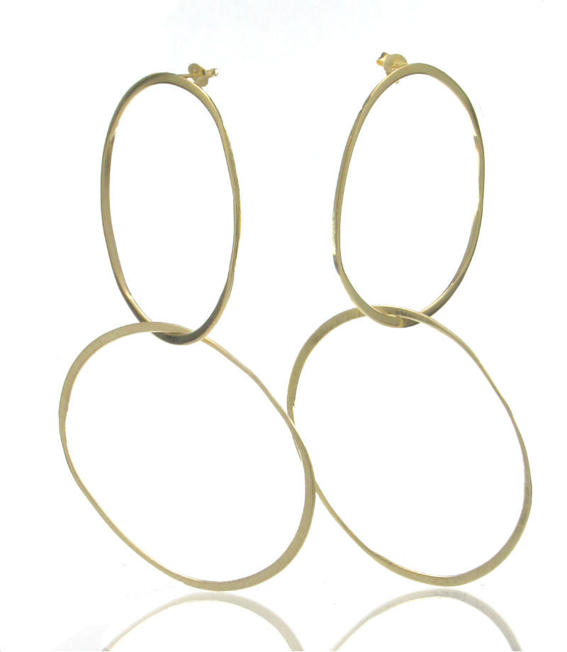 Gold Plated Over Sterling Silver Brushed Double 8's Earrings