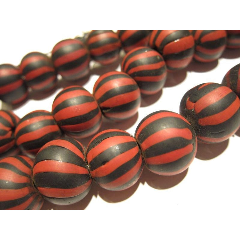 """Barbershop Swirl"" Glass Round Trade Bead Necklace/Strand or Loose"