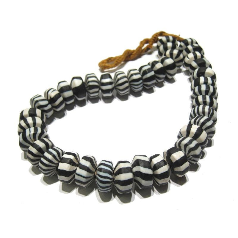 """Peppermint Rising Sun"" Black Stripe Rondelle Bead Strand"