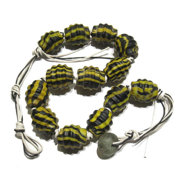 "Naga Glass ""Ridged Yellow Jacket"" Trade Beads"