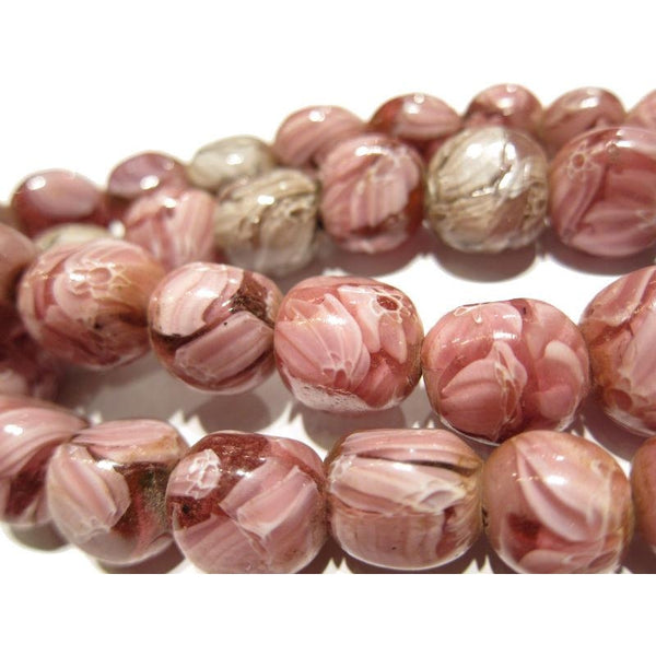 """Marvelous Marbles"" Pink Scrabble Glass Bead Necklace/Strand or Loose"