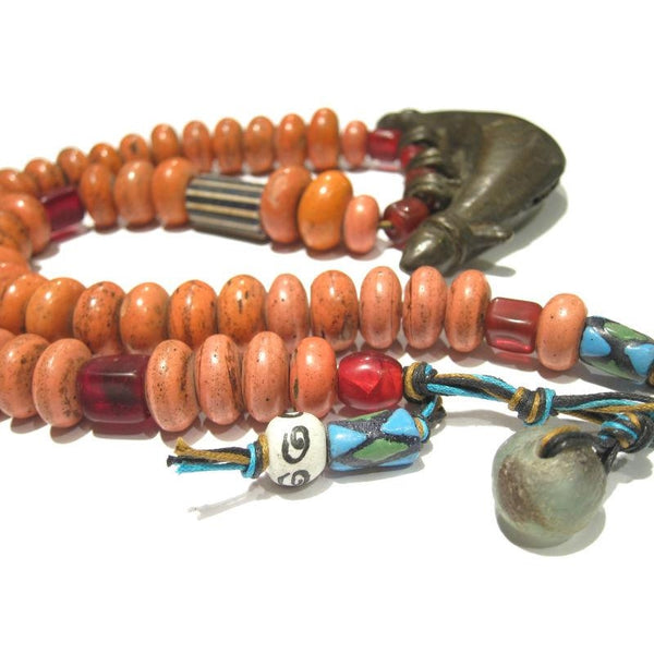 "Naga ""Coral Glass"" Hand Wound Heirloom Beads 2"