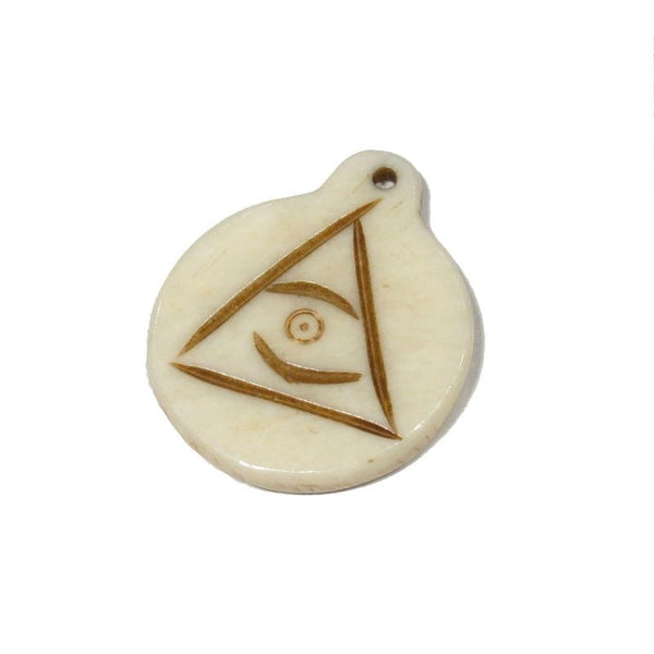 All-Seeing Eye of God Hand Carved Cow Bone Pendant