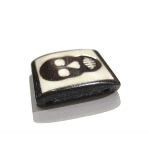 Skull Hand Carved Cowbone Bead with Double Hole