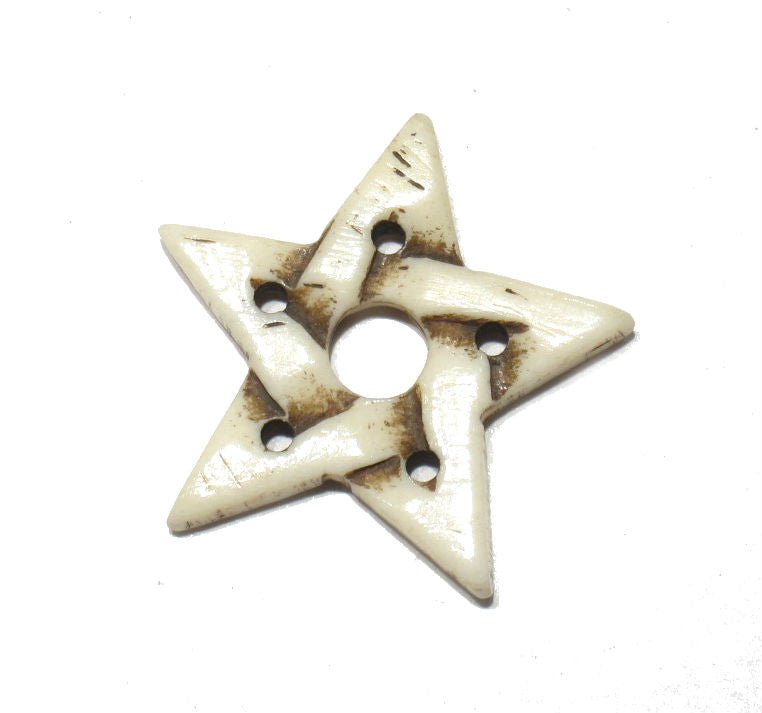 Pentagram Star Carved Cowbone Pendant