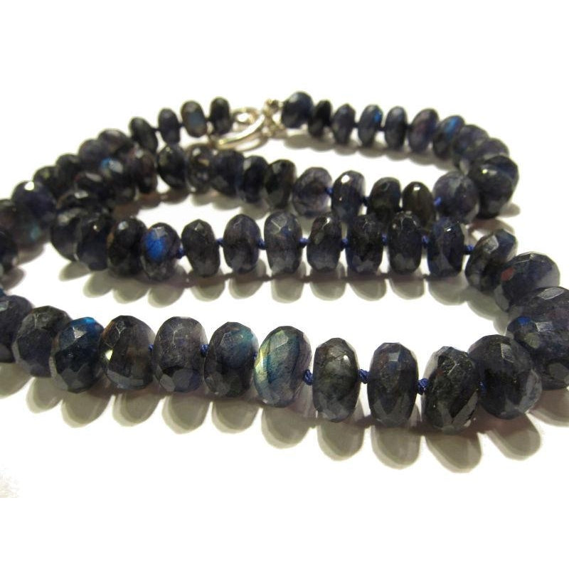 Labradorite Necklace with Sterling Silver Toggle Clasp