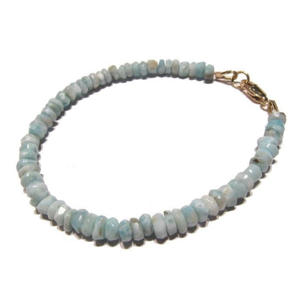 Larimar Faceted Bracelet with Gold Filled Lobster Claw Clasp