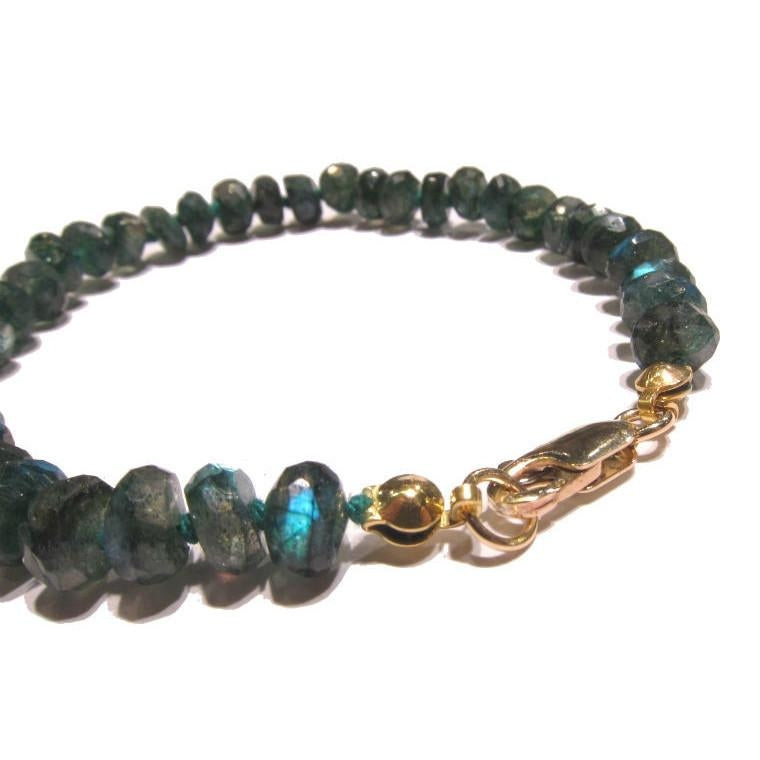 Green Labradorite Knotted Bracelet with Gold Filled Lobster Claw Clasp