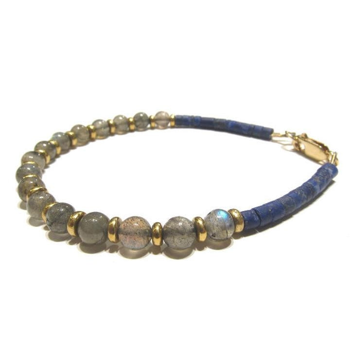 Labradorite and Lapis Lazuli Bracelet with Gold Filled Lobster Claw Clasp
