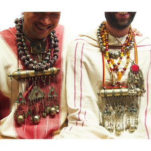 "Brotherly Love 23: Silver Balochi Heirloom Beads with Javanese Art Glass Melon Shape Beads with Koranic XL Amulet Boxes with Fine Kuchi Brass and Copper Amulet Case and Nepali Plastic Resin ""Amber"" Beads and Kuchi"