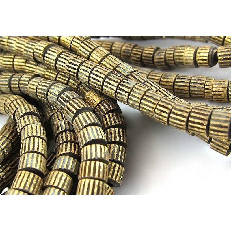Brushed Brass Striped Bead Strand
