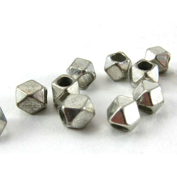 Silver Plated over Copper Faceted Bead Strand