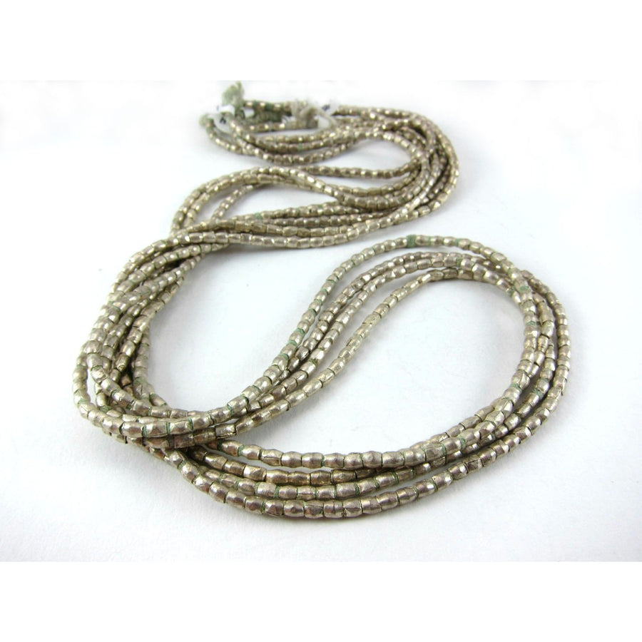 Ethiopian Silver over Copper Tube Bead Strand