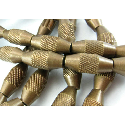 Industrial Cross-Hatched Brass Bead Strand