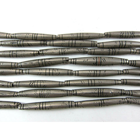 Tuareg Hand Wound Nickel Silver Tube Bead Strand
