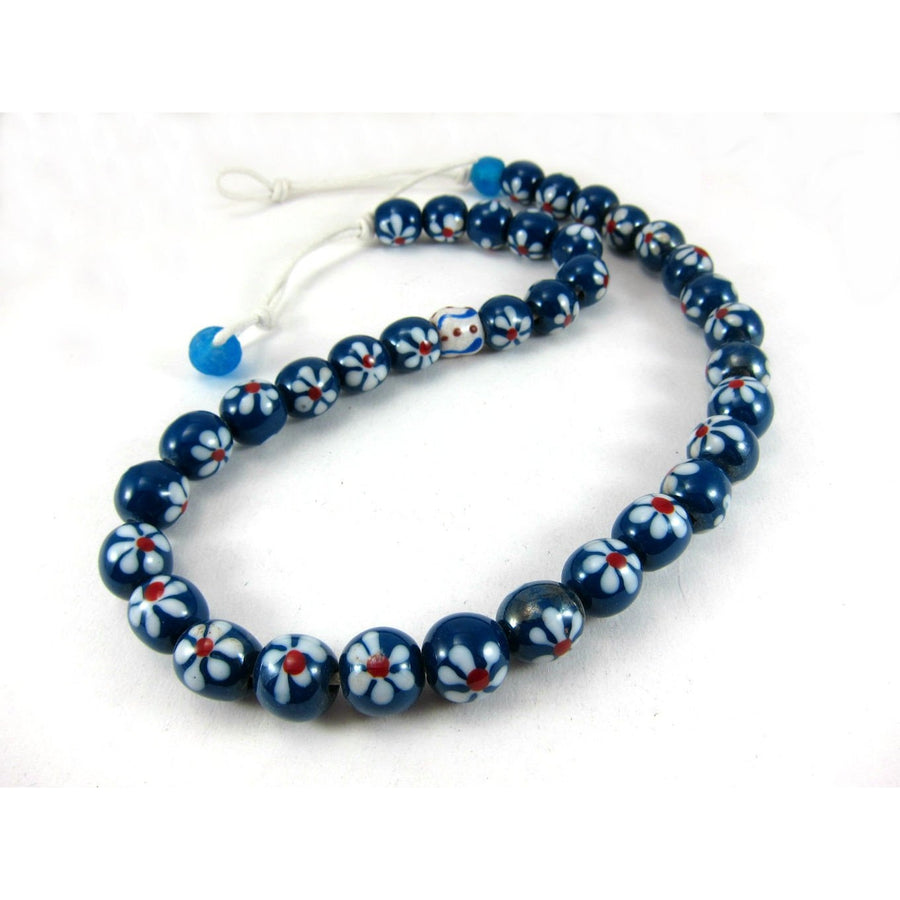 Hand Inlaid/Hand Wound Java Glass Bead Necklace/Strand