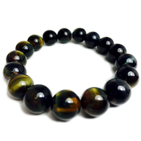 Natural Blue Tiger's Eye 12mm Stretch Bracelet