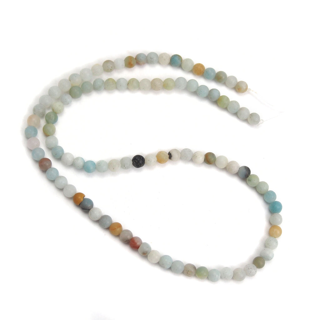 Amazonite 4mm Smooth Rounds, Matte