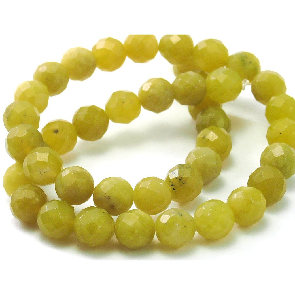 Jade Olive Faceted Rounds 10mm Strand