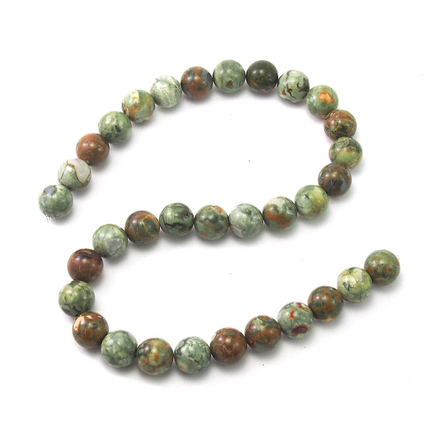 Rainforest Jasper Smooth Rounds 12mm Strand