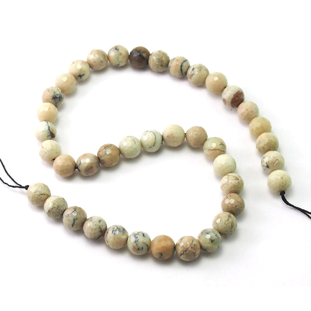 African Opal White Faceted Rounds 10mm Strand