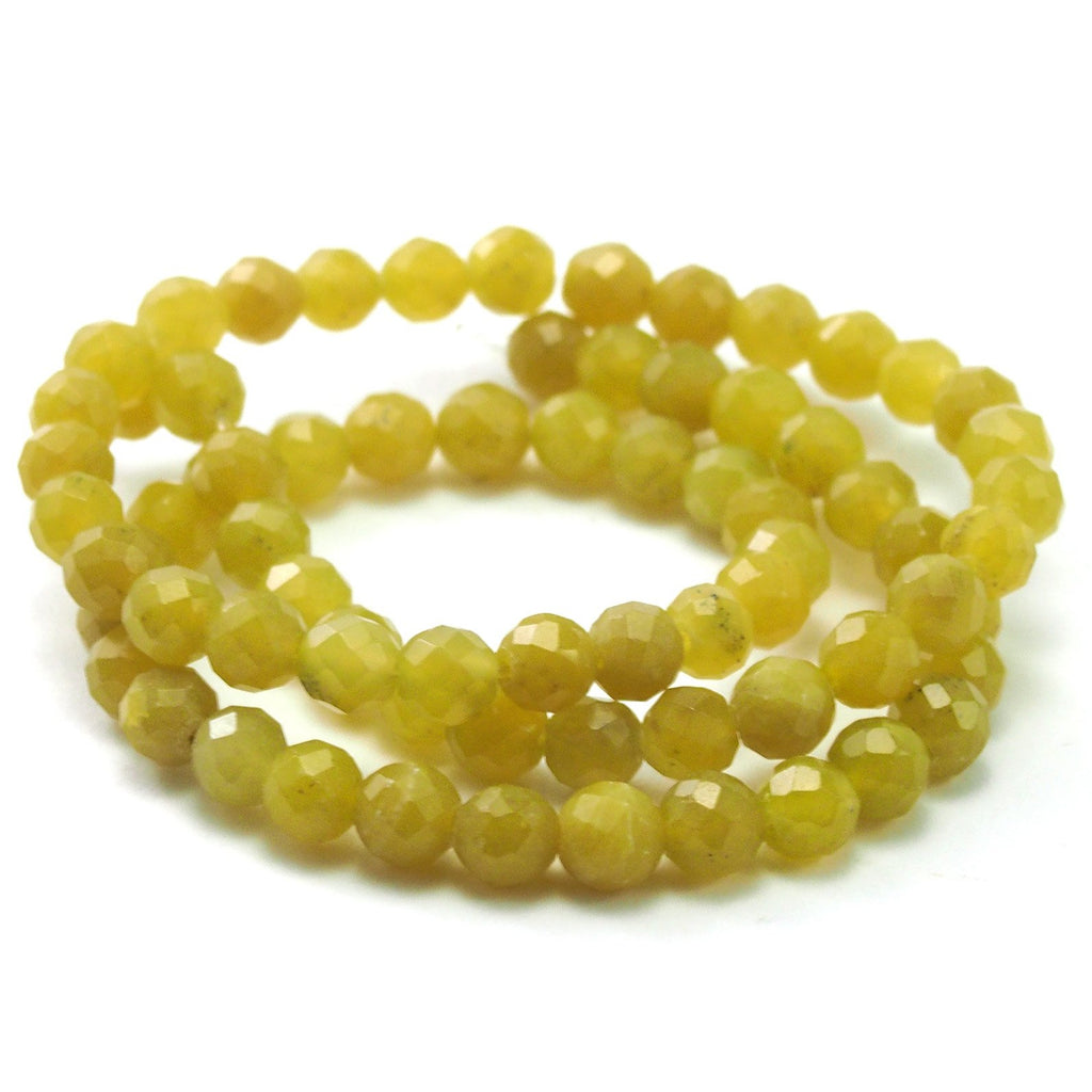 Jade Olive Faceted Rounds 6mm Strand