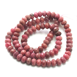 Rhodonite Faceted Rondelles 6m Strand
