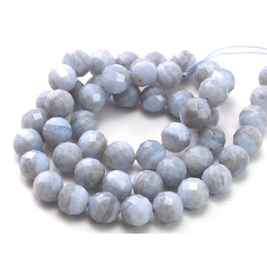 Blue Lace Agate Faceted Rounds 8mm Strand