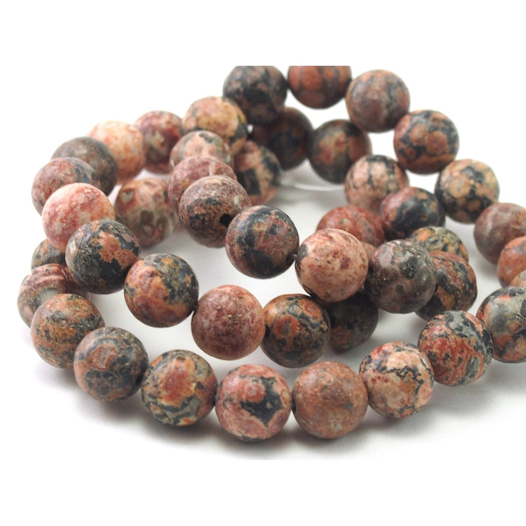 Jasper Leopard Skin Matte Smooth Rounds 8mm Strand