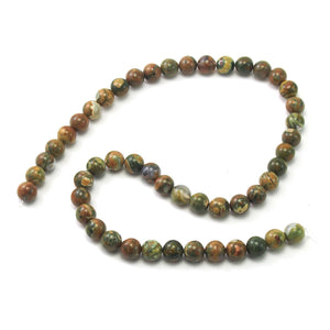 Rainforest Jasper Smooth Rounds 8mm Strand