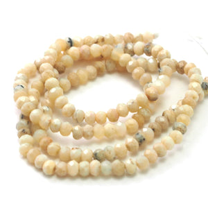 African Opal White Faceted Rondelles 4mm Strand