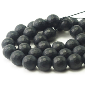 Onyx Black Matte Faceted Rounds 10mm Strand