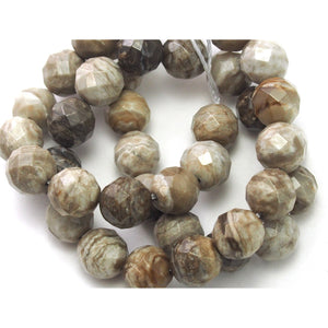 Silver Leaf Jasper Faceted Rounds 10mm Strand