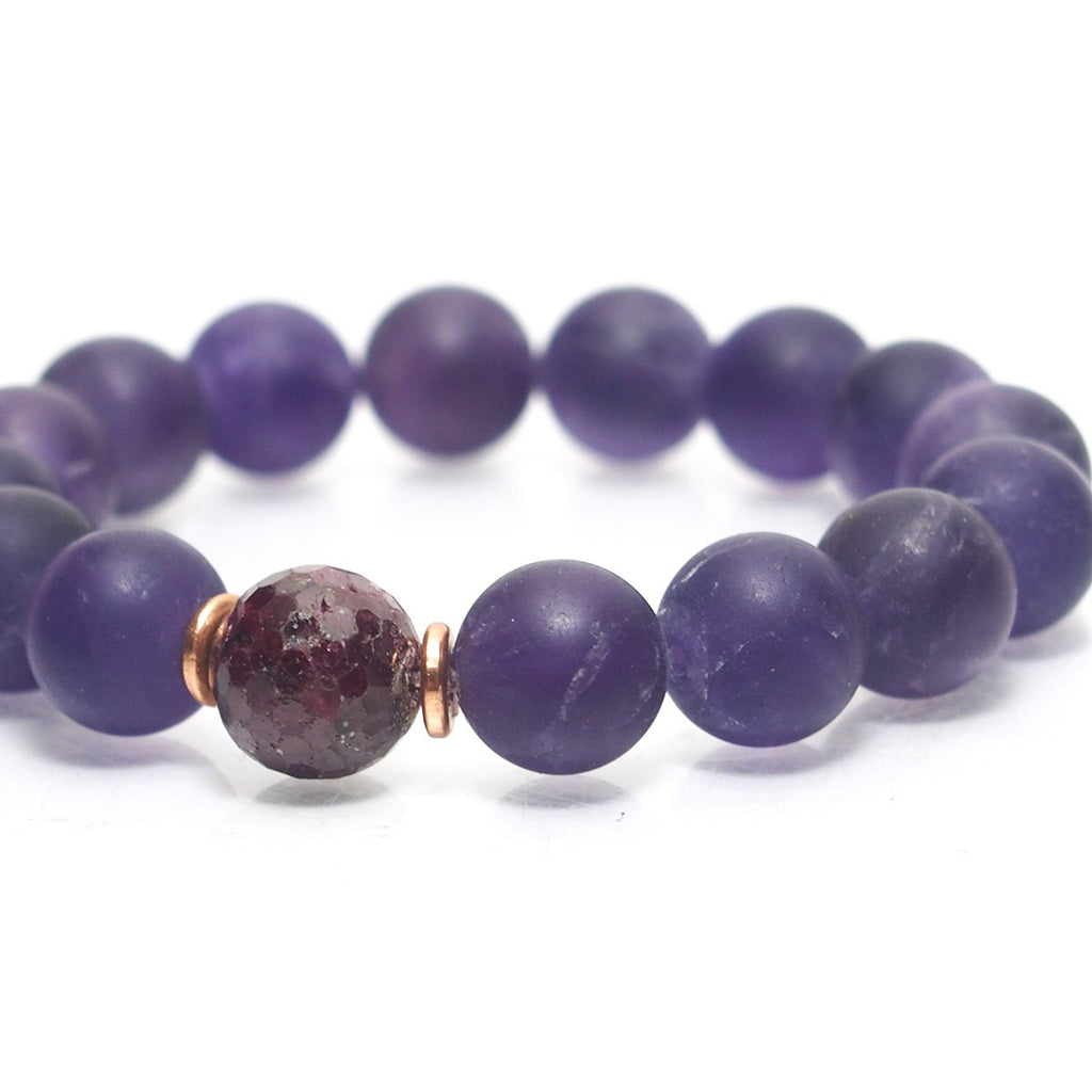 Amethyst Stretch Bracelet with Faceted Ruby Bead