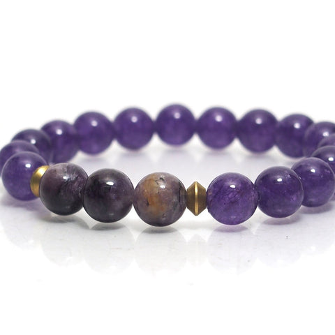 Amethyst Stretch Bracelet with Charoite
