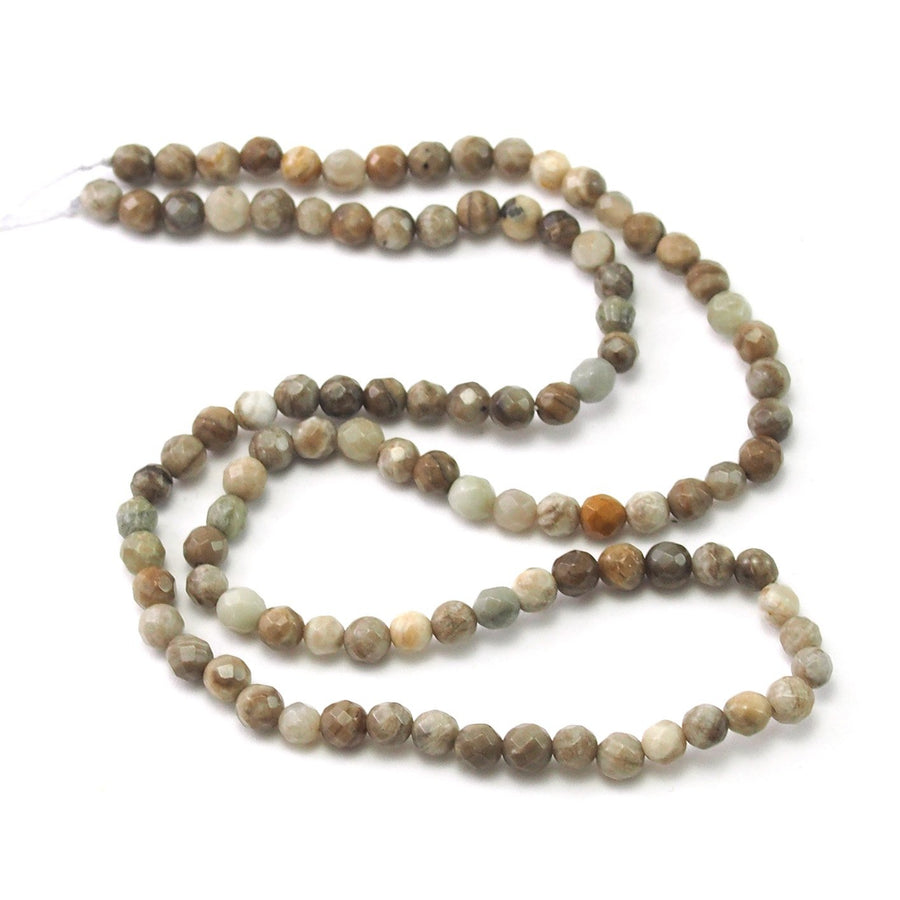 Silver Leaf Jasper Faceted Rounds 4mm Strand