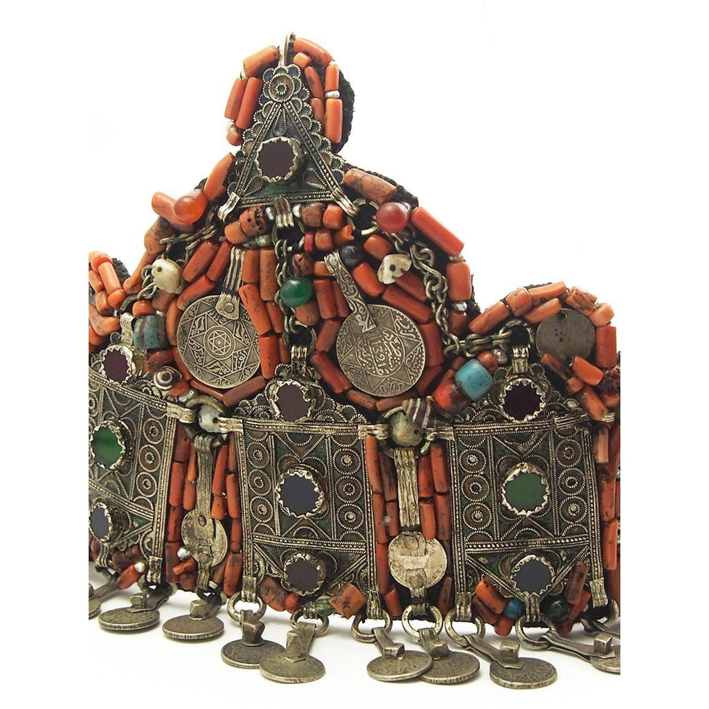 Berber Heirloom Coral Dowry Crown, A