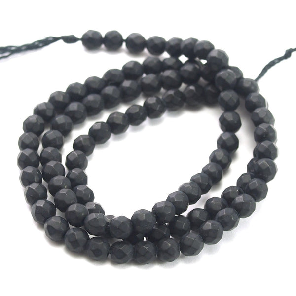 Onyx Black Faceted Rounds 4mm Strand