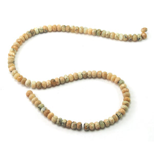 African Opal White Faceted Rondelles 6mm Strand