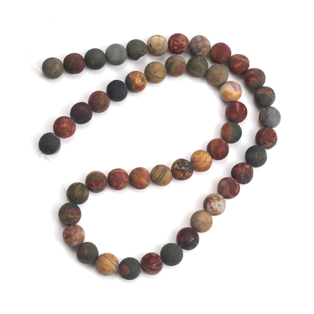 Fancy Jasper 8mm Matte Smooth Rounds